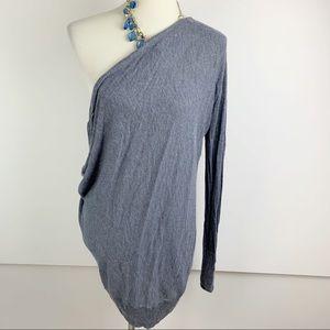 Hinge Gray Long Sleeve Knit Off Shoulder Top B1603